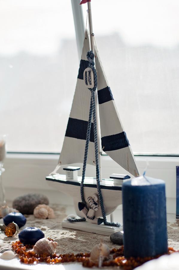 Jūrinė atributika - medinis laivas - buto dekoravimas