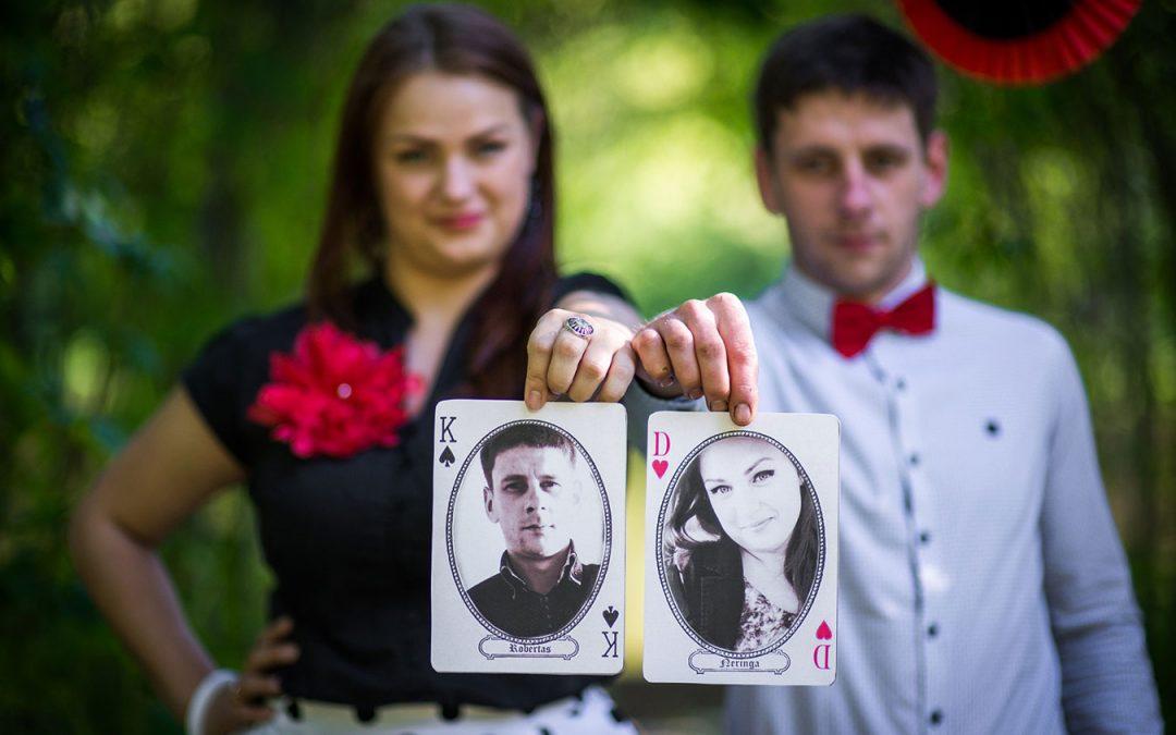 Priešvestuvinė fotosesija Kortų tema - Love story fotosesija - idėjos