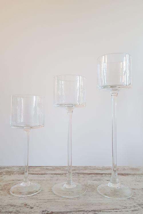 Stiklinės žvakidės ant kojos nuoma - Asta Deco